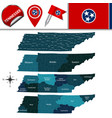 map of tennessee with regions vector image vector image