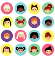 Multinational female face avatar profile heads vector image