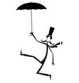 mustache man in the top hat with umbrella vector image vector image