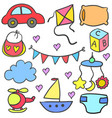 object baby doodle set vector image vector image
