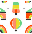 rainbow ice cream air balloon seamless pattern vector image vector image