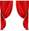Red curtain collected in folds ribbon isolated on vector image