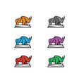 rhino full color vector image