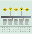 road sign flat timeline with set of icons vector image