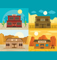 saloon pub wild west banner concept set flat style vector image