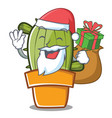 santa cute cactus character cartoon vector image vector image