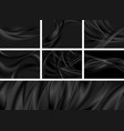 set black abstract smooth waves backgrounds vector image