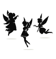 silhouettes little fairies vector image