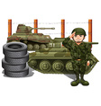 Soldier and two military tanks vector image vector image