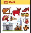 spain travel famous landmark symbols and spanish vector image vector image