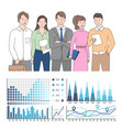 statistics and business data collaboration team vector image vector image