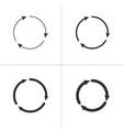 three circle clockwise arrows black icon set vector image vector image