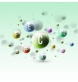 Three dimensional glowing color spheres on green vector image