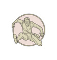 Track and Field Athlete Hurdle Circle Mono Line vector image vector image