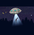 ufo abducting a men summer night forest landscape vector image
