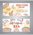 vintage gift certificate with sketch bakery vector image vector image