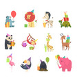 wild animals with gifts festive holidays vector image
