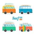 Surf Van Set Flat Design vector image