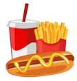 hot dog french fries and soda vector image