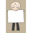 Man demonstrates presentation banner vector image