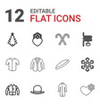 12 winter icons vector image vector image