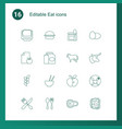 16 eat icons vector image vector image