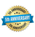 5th anniversary round isolated gold badge vector image