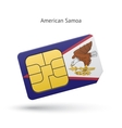 American Samoa mobile phone sim card with flag vector image vector image