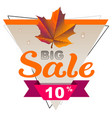 autumn big sale 10 percent discount coupon yellow vector image