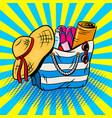 beach bag pop art vector image vector image