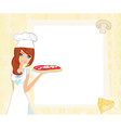 beautiful woman serving pizza vector image vector image