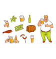 beer bottle mug glass drinking man appetrizers vector image vector image