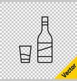 Black line bottle vodka with glass icon