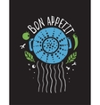 Bon Appetit Pasta Design with Colander and vector image vector image