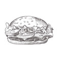 burger black and white realistic sketch isolated vector image