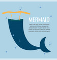 character of mermaid tail in the blue sea design vector image