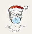 christmas at coronavirus man portrait wearing vector image vector image
