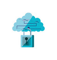cloud computing with padlock secure vector image vector image