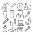 cosmetics line icons on white background vector image