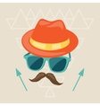 Design with hat glasses and mustache in hipster vector image