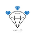 diamond icon minimal line design values vector image vector image