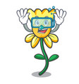 diving daffodil flower character cartoon vector image