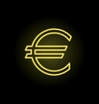 euro sign on a black background in neon lighting vector image vector image