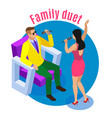 family duet isometric composition vector image vector image