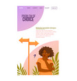 female character is having a problem choice vector image vector image