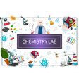 flat chemistry laboratory concept vector image vector image