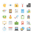 flat icons set of office and internet them vector image vector image