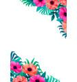 floral frame corner design beautiful wild garden vector image vector image