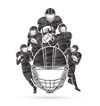 group of american football player sportsman vector image vector image