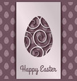 happy easter greeting card design with paper egg vector image